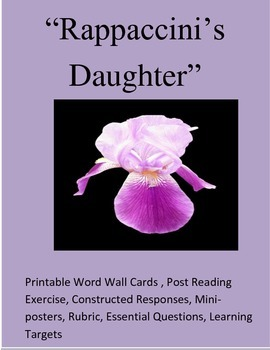 """Rappaccini's Daughter"" :Printable Word Wall/Constructed R"