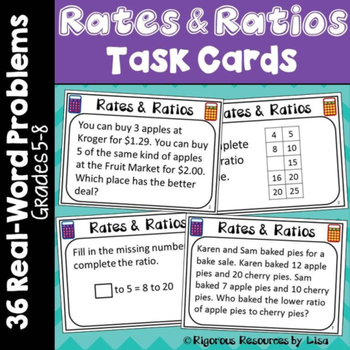 Rates and Ratios Word Problem Task Cards