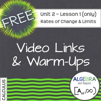 Calculus: Rates of Change and Limits - Warm-Ups