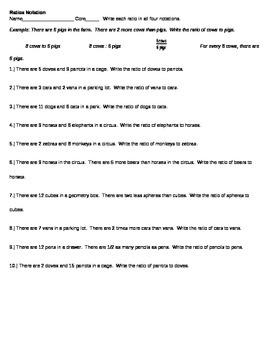 Ratio Notations - Writing Ratios in Multiple Ways - Worksheet