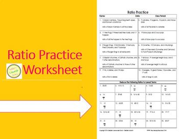 Ratio Practice Worksheet - Lots of Practice in one handy sheet!
