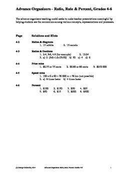 Ratio, Rate & Percent, Grades 4-6, Advance Organizers