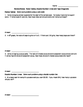 Ratio Review Notes Double Number Line, Ratio Table, Tape Diagram