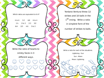 Ratio and Rates Task Cards