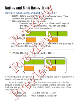 Ratio and Unit Rates Comparison Powerpoint and Notes Sheet