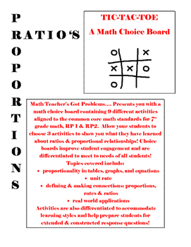 Ratio's & Proportional Relationships Tic-Tac-Toe: A choice