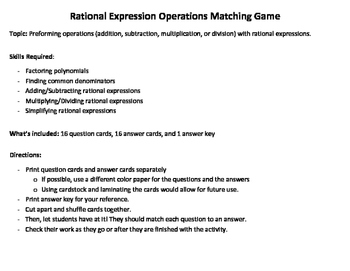 Rational Expression Operations - Matching Game