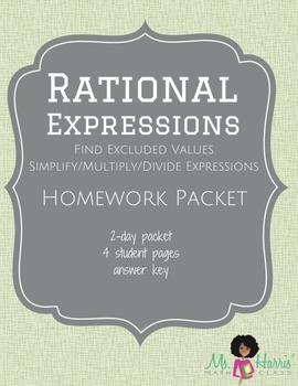 Rational Expressions: Homework Packet (Worksheets)