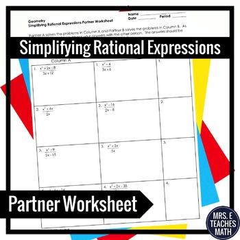 Rational Expressions Partner Worksheet