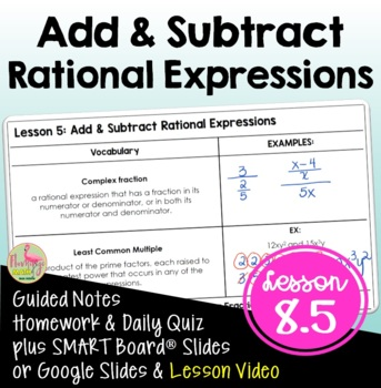 Algebra 2: Add and Subtract Rational Expressions