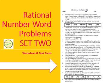 Rational Num (fraction, decimal) Word Probs-w task cards-D