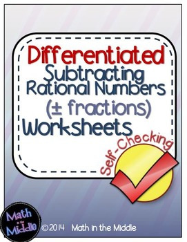 Rational Number Subtraction Self-Checking Worksheets - Dif