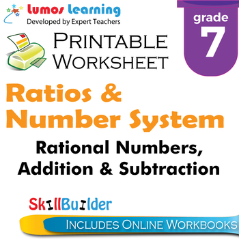 Rational Numbers, Addition & Subtraction Printable Workshe