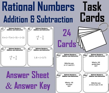 Rational Numbers Task Cards 4th 5th 6th 7th Grade Rational