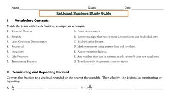 Rational Numbers Study Guide