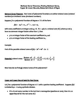 Rational Zeros Theorem, Finding Rational Zeros, Bounds, De
