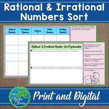 Rational and Irrational Number Sort - Vocabulary Reinforcement