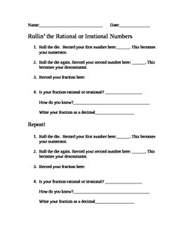 Rational and Irrational Numbers Game