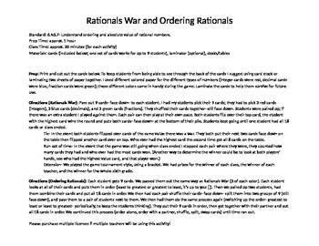 Rationals War and Ordering Rationals Activities