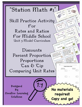 Ratios & Proportions Station Math Skills Review for Grade 7