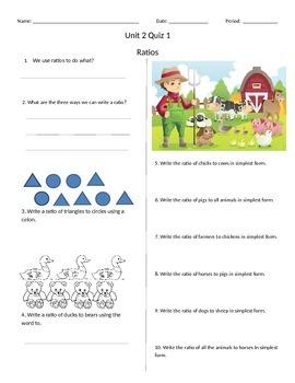 Ratios Quiz (Editable)