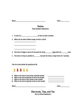 Ratios, Rates, Unit Rates, and Percents Assessment Bundle