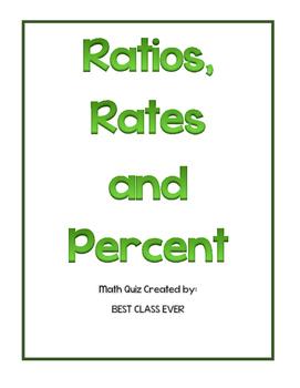 Ratios, Rates and Percent Quiz/Test