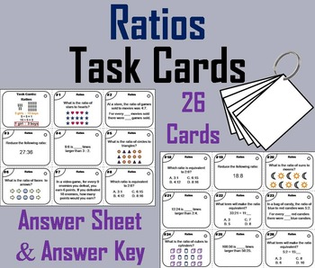 Ratios Task Cards/ Ratio Word Problems Task Cards/ Equival