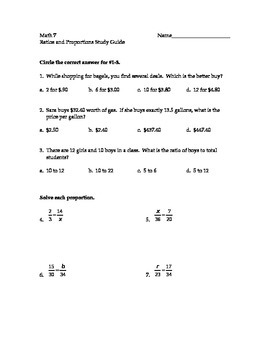 Ratios and Proportions Study Guide