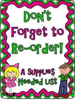 Re-Order Supplies Master List