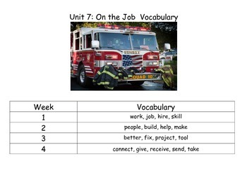 Reach for Reading Kindergarten Unit 7 Vocabulary Cards