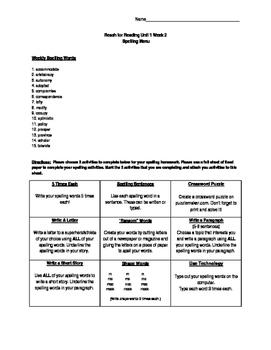 Reach for Reading Grade 5 Unit 1 Week 2 Spelling Menu