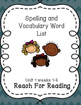 Reach for Reading weekly word lists