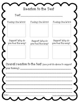 Reaction to the Text {Freebie} Sample From Reading With Po