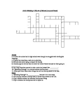 Read 180 FLEX Workshop 9 (The Art of Memoir) Crossword