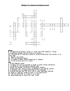 Read 180 FLEX2 Workshop 9 (Los Americanos) Vocabulary Crossword