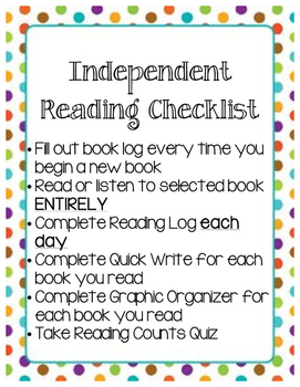 Read 180 Independent Reading Checklist