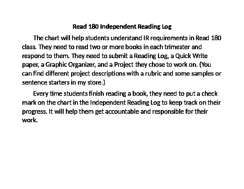 Read 180 Independent Reading Log