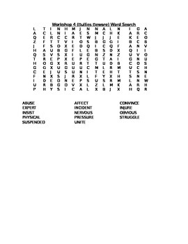 Read 180 Stage A Workshop 4 (Bullies Beware) Word Search