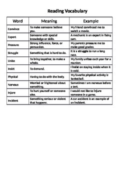Read 180 Stage A Workshop 4 Vocabulary