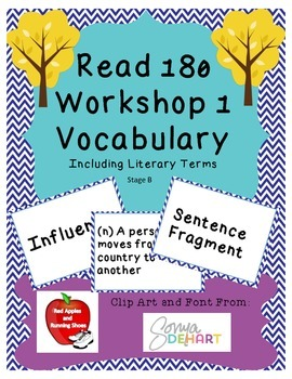 Read 180 Stage B Workshop 1 Vocabulary Flash Cards and Wor
