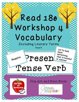 Read 180 Stage B Workshop 4 Vocabulary Flash Cards and Wor