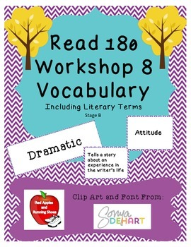 Read 180 Stage B Workshop 8 Vocabulary Flash Cards and Wor