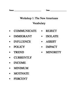 Read 180 Workshop 1 Vocabulary Packet
