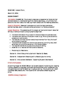 Read 180  Workshop 3 - Lesson Plan   Analyzing Topic Sentence