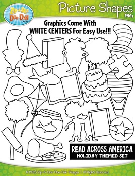 Read Across America Holiday Picture Shapes Clipart Set — I