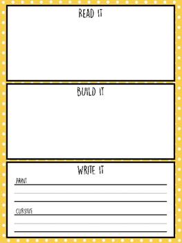 Read It Build It Write It Print and Cursive
