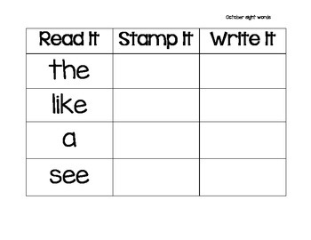 Read It, Stamp It, Write It October Sight Words