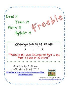 Read It, Trace It, Write It, Highlight It:  Kindergarten S