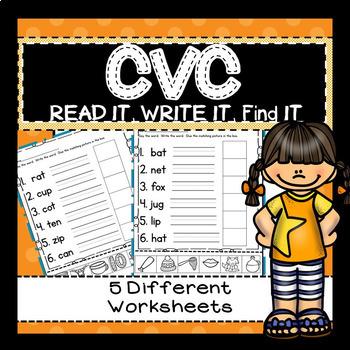 CVC Words- 5 worksheets/practice- Read IT, Write IT, Find IT GLUE